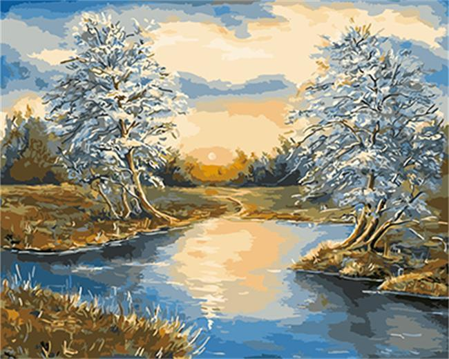 Magnificent Painting of lake with White Trees
