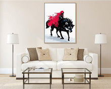 Load image into Gallery viewer, Fantasy Painting of Girl With Red Hood Riding Wolf