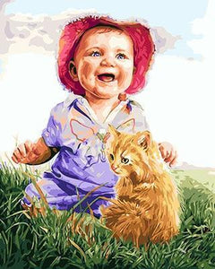 Adorable Painting of Baby And Kitten - Paint-by-number kits