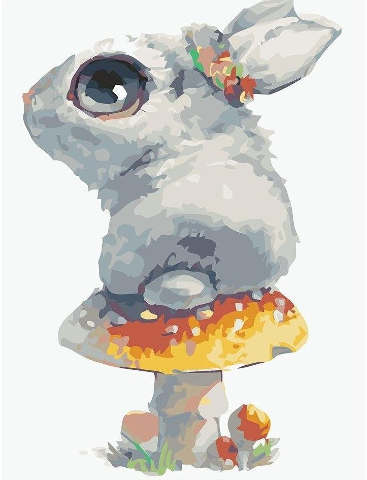 Adorable Rabbit Owns Mushroom - Paint By Numbers