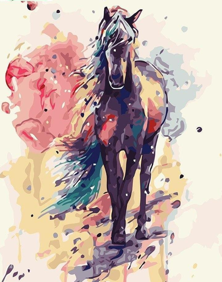Beautiful Painting of Black Horse