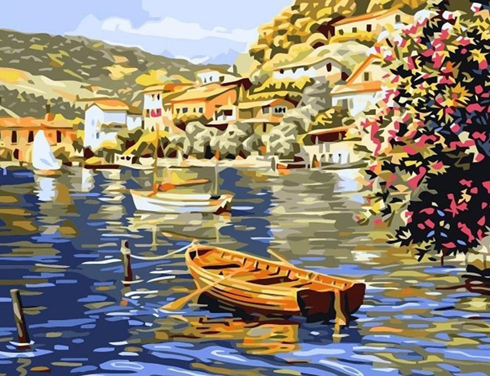 Beautiful Painting of City At Shore