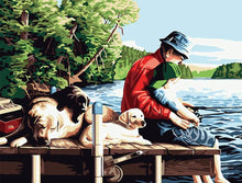 Load image into Gallery viewer, Stunning Painting of Father Teaches Fishing to Son