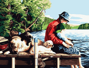 Stunning Painting of Father Teaches Fishing to Son