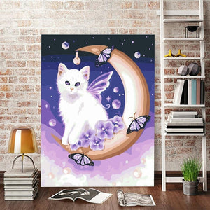 Fantasy Painting of Cat on Moon
