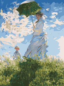 Lovely Painting of Mother & Son in Park