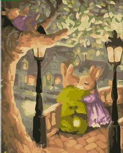 Beautiful Love Life of Rabbits -  DIY Painting