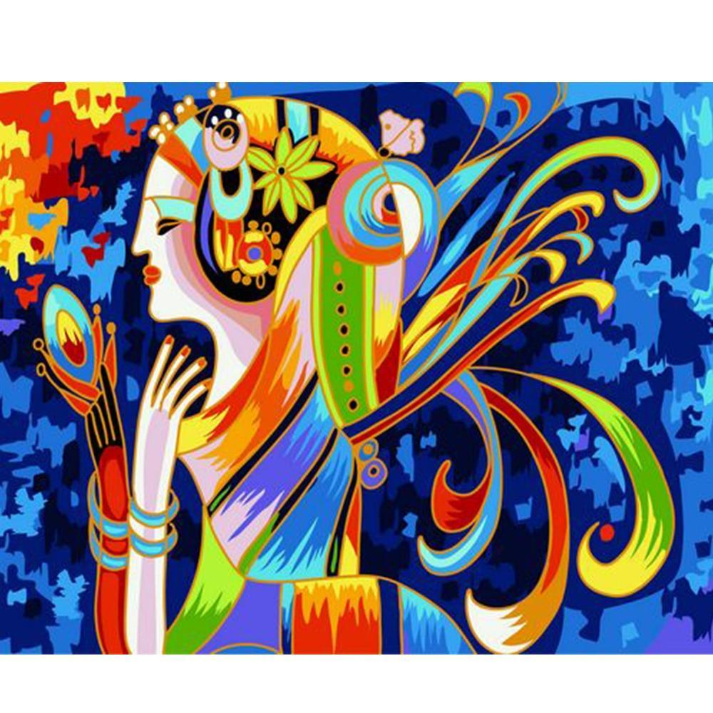 Abstract colored Painting Of Woman