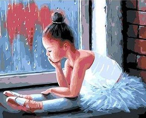 Adorable Painting of Sad Ballerina - Paint By Numbers