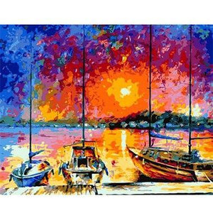 Beautiful Painting of Evening at Docks
