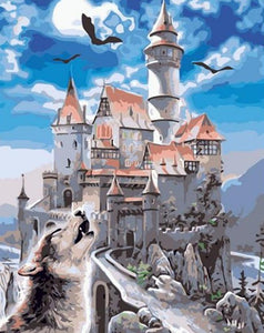 Painting of Abondened Castle With Bats