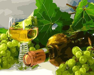 Beautiful Painting of Green Grape's Wine