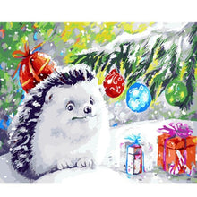 Load image into Gallery viewer, Adorable Hedgehog at Christmas Painting
