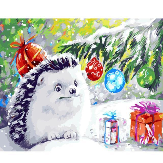 Adorable Hedgehog at Christmas Painting