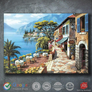 Beautiful Painting of Shops in Streets