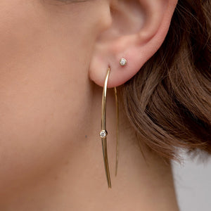 Solitaire Diamond Wire Earrings - 14k Yellow Gold
