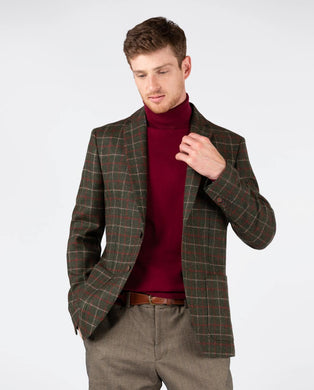 Window Check Blazer - Pine Green