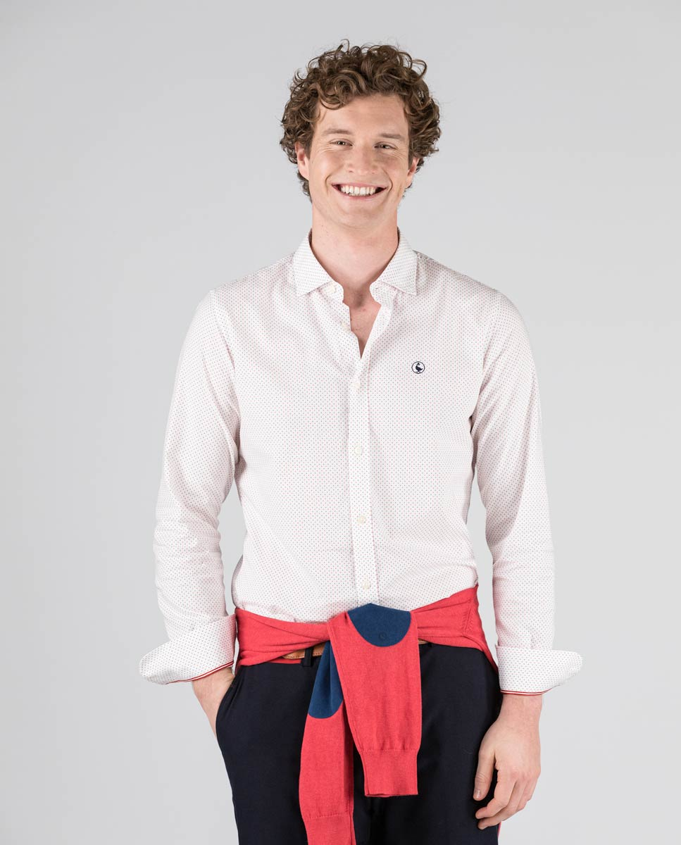 Pin Point Diamond Button Down - Red/Blue