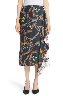 Renzo Scarf Print Asymmetrical Silk Skirt - Orange/Blue Multi