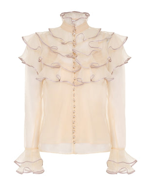 Lucky Tiered Blouse - Cream