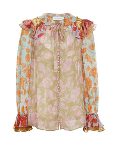 The Lovestruck Ruffle Shirt - Mixed Roses