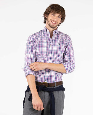 Oxford Button Down - Mauve/Azul