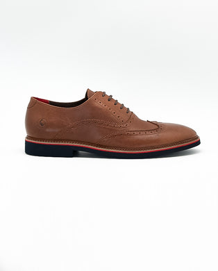 Brown Leather Oxford Shoe - Red/Blue