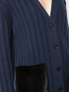 Wool Cashmere Cardigan With Mink Pockets - Navy/Black