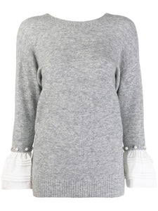 Pearl Cuff Sweater - Gray