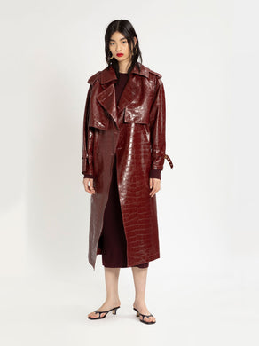 Eva Embossed Alligator Trench