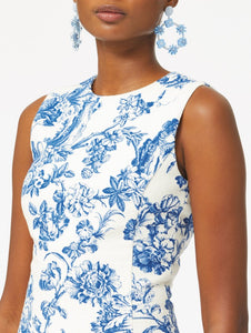 Floral Toile Pencil Dress - Blue/White