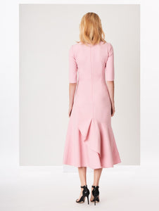 Asymmetrical Stretch Wool Dress - Petal Pink