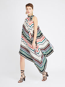 Geometric Stripes Silk Twill Dress - Multi