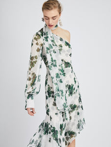 One-Shoulder Grape Leaves Silk-Chiffon Dress - White/Green