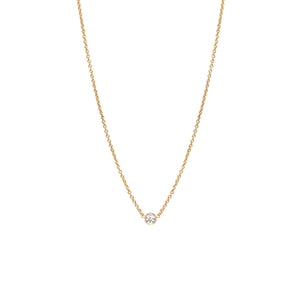 14K Single Diamond Necklace