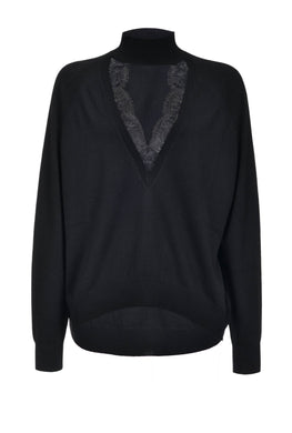 Lace Pullover - Black