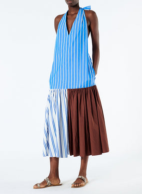 Vivian Stripe Halter Neck Dress - Blue/Brown Stripe