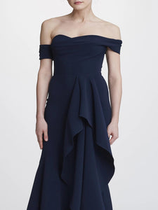Off-the-shoulder Hi-Lo Gown - Navy