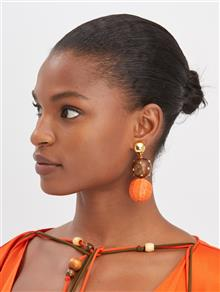 Embroidered Earring - Burnt Orange