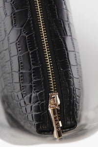 Shirley Bag - Black Embossed Croc/Clear