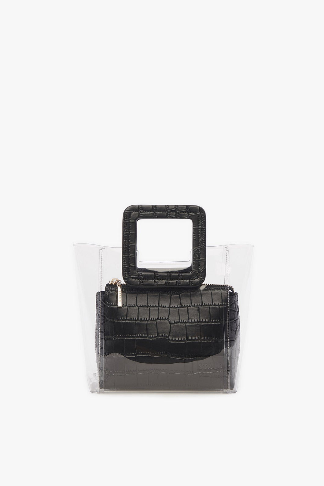 Mini Shirley Bag - Black Embossed Croc/Clear