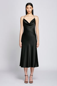 Halter-neck Slip Dress - Black