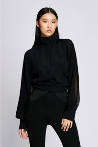 Hi-neck Billowing Sleeve Blouse - Black