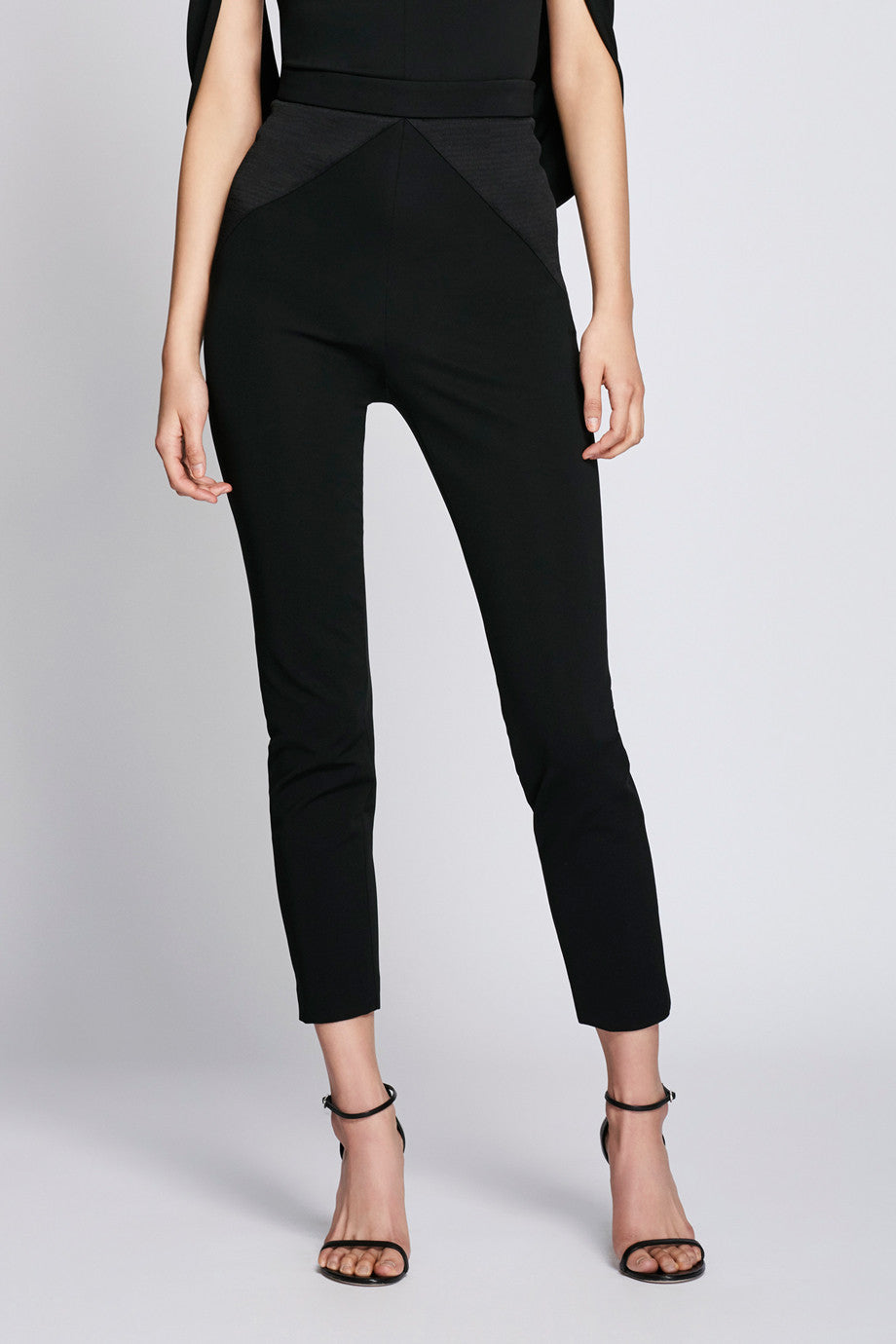 Cropped Pants with Satin Detail - Black