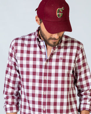Vintage Maroon Big Gingham Check Shirt