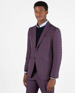 Four Tattersall Bicolor Blazer - Navy/Red