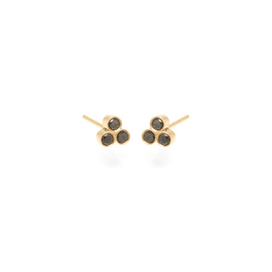 14K Black Diamond Trio Studs