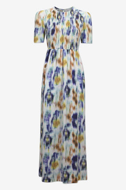 Adamaris Dress - White/Blue Floral