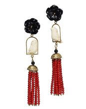 Load image into Gallery viewer, Swingers Earrings - Black, White, Coral