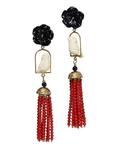 Swingers Earrings - Black, White, Coral